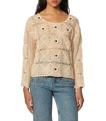 women's sandro rio flower applique crochet sweater, size 0 - beige