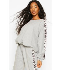 colour block leopard oversized sweater, grey marl