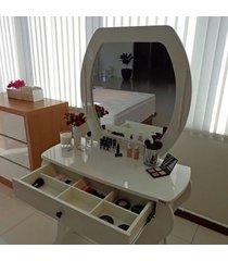 penteadeira retrô com espelho sem led tw131 dalla costa off white