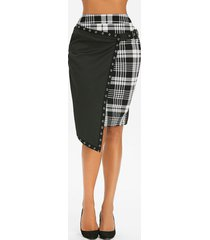 gothic plaid asymmetric eyelet buckle skirt