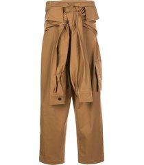 natasha zinko tie waist tapered trousers - brown