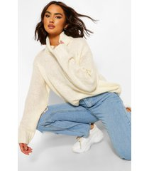 roll neck sweater, ivory