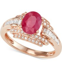 certified ruby (1-1/3 ct. t.w.) and diamond (1/2 ct. t.w.) ring in 14k rose gold