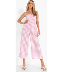gingham culotte jumpsuit met bandjes, pink