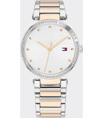 tommy hilfiger women's crystals dress watch wi two-tone bracelet silver -