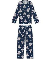 pijama longo estampado coalas malwee liberta malwee liberta masculino