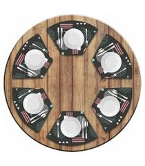 jogo americano love decor  para mesa redonda wevans abstract circulos kit com 6 pçs
