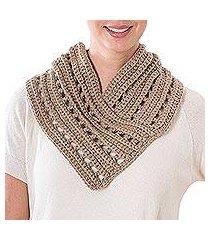 crocheted infinity scarf, 'khaki autumn' (guatemala)