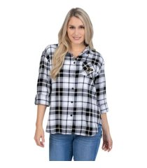 ug apparel purdue boilermakers women's flannel boyfriend plaid button up shirt