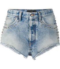 alanui stone wash denim shorts - blue