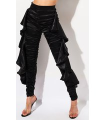 akira shake it ruched high waisted ruffled satin pants