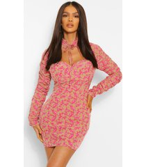 floral high neck cut out mini dress, nude