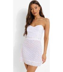 broderie corset crop top, white