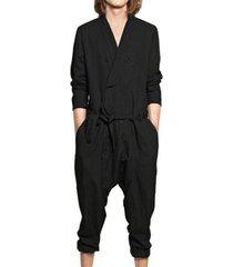 incerun traje de mameluco informal de manga larga con cuello en v liso para hombre pantalones mono