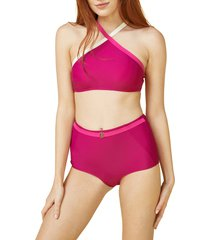 women's summersalt fused high waist bikini bottoms, size 10 - purple