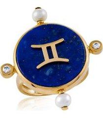 anel astrale gemeos amarelo c/ diamante branco e perola