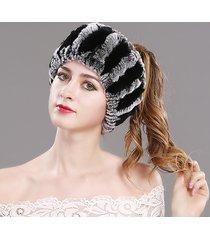 donna classico beanie invernale di pelliccia di rex calda a doppio uso come sciarpa a testa cappello cappuccio