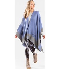 rayne reversible colorblock poncho - blue