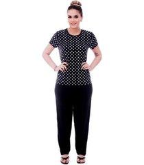 pijama feminino blusa poá viés calça comprida