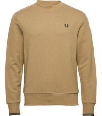 crew neck sweatshirt sweat-shirt tröja beige fred perry