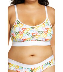 tomboyx ruched bralette, size x-small in rainbow hearts at nordstrom