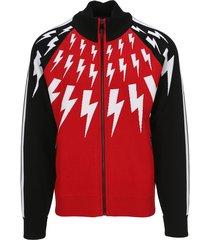 neil barrett thunderbolt knitted cardigan