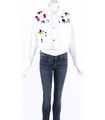 oscar de la renta white denim sequin paint splatter jacket white sz: s