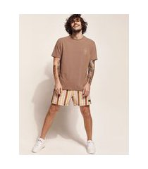 "camiseta masculina birden tal pai tal filho bon voyale club"" manga curta gola careca marrom"""
