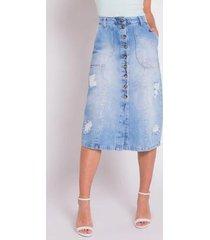 saia areazul jeans midi feminina - feminino