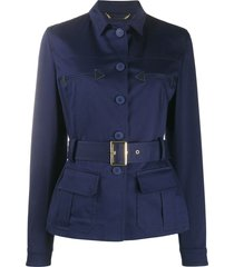 alberta ferretti belted twill jacket - blue