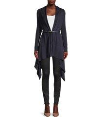 salvatore ferragamo women's cashmere, virgin wool & silk belted cardigan - navy - size xl