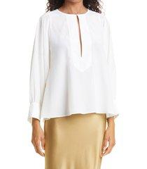 careste gretchen silk georgette blouse, size 2 in cream at nordstrom
