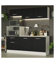 cozinha compacta madesa onix 180001 com armário e balcão branco/preto cor:branco/preto