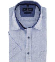 casa moda korte mouw overhemd linnen blauw