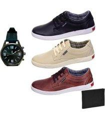 kit 3 sapatênis couro selten masculino + carteira + relógio - masculino