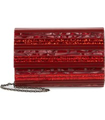kurt geiger london stripe envelope clutch - red