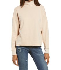 women's madewell mock neck hemp & cotton sweatshirt, size large - pink