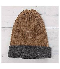 men's reversible alpaca blend hat, 'the bells of huancayo' (peru)