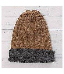 men's reversible alpaca blend hat, 'the bells of huancayo' (peru)