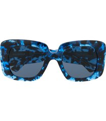 balenciaga eyewear leopard print oversized sunglasses - blue