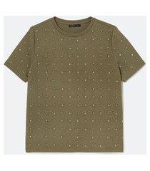 blusa manga curta com aplicação de pontos de luz | cortelle | verde | g