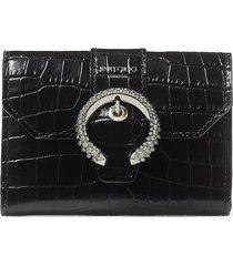 jimmy choo encrusted buckle patterned wallet - black