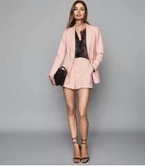 reiss beatrix short - textured tailored shorts in soft pink, womens, size 10