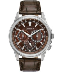 citizen eco-drive men's calendrier brown leather strap watch 44mm