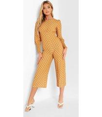 culotte jumpsuit met stippen en geplooide manchettes, mustard