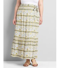 lane bryant women's tiered maxi skirt with belt 22/24 woodblock print