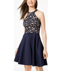 b darlin juniors' strappy lace halter fit & flare dress