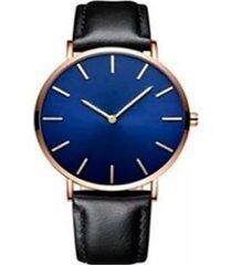 reloj ultra delgado correa negra fondo azul marco dorado