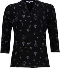 blusa flor con tallos color negro, talla s