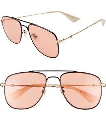 men's gucci 57mm aviator sunglasses - shiny black/orange
